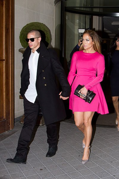 Jennifer Lopez in a pink Valentino dress