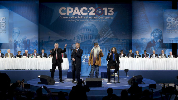 The Oak Ridge Boys, an American country and gospel quartet, perform during a dinner at the 40th annual Conservative Political Action Conference in National Harbor, Md., Friday, March 15, 2013. (AP Photo/Jacquelyn Martin)