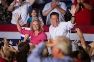 "Republican presidential candidate Mitt Romney speaks at a rally at Holman Stadium on September 7, 2012 in Nashua, New Hampshire. The Romney camp says Obama's convention bump was a ""sugar-high"" that would dissolve once the harsh realities of the president's failed economic policies have sunk back in"