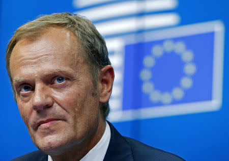 File photo of European Council President Donald Tusk attending a news conference during an EU summit in Brussels