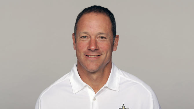 FILE - This is a 2012 file photo showing Aaron Kromer of the New Orleans Saints NFL football team. A person familiar with the situation says the Chicago Bears have hired Kromer as their offensive coordinator. The person spoke Wednesday, Jan. 16, 2012 on the condition of anonymity because the move had not been announced. (AP Photo/File)
