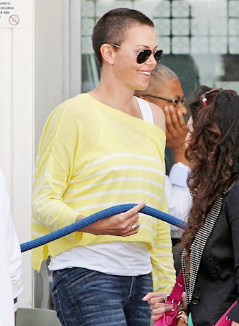 Charlize Theron Shows Off Shaved Head During Cape Town Lunch