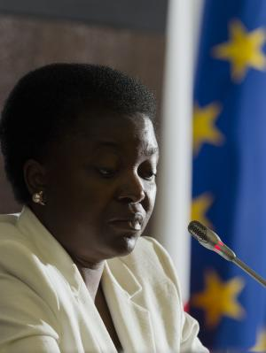 Italian Integration Minister Cécile Kashetu Kyenge speaks at a press conference in Rome, Friday, May 3, 2013. The appointment of Italy's first black cabinet minister was initially hailed as a giant step forward for a country that has long been ill at ease with its increasing immigrant classes. Cecile Kyenge's new job has instead exposed Italy's ugly race problem, an issue that flares regularly on the football pitch with racist taunts and in the rhetoric of xenophobic political parties but has come to the fore anew as a shaky coalition government tries to bring Italy out of its economic doldrums. (AP Photo/Domenico Stinellis)