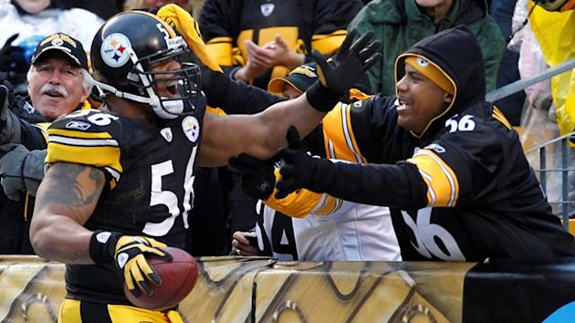 A fan congratulates Pittsburgh Steelers LaMarr Woodley (56) on his interception and touchdown against the Cincinnati Bengals in the fourth quarter of their NFL football game in Pittsburgh, Pennsylvania, December 12, 2010