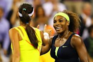 Serena Williams of the US shakes hands with Ana Ivanovic of Serbia after their women's singles quarterfinal match on Day Ten of the 2012 US Open at USTA Billie Jean King National Tennis Center on September 5, in New York City. Williams won 6-1, 6-3