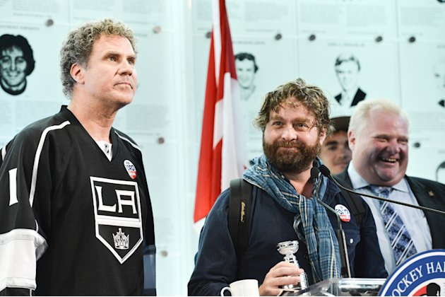 "Will Farrell And Zach Galifianakis Visit the Hockey Hall Of Fame To Promote Their New Movie ""The Campaign"""