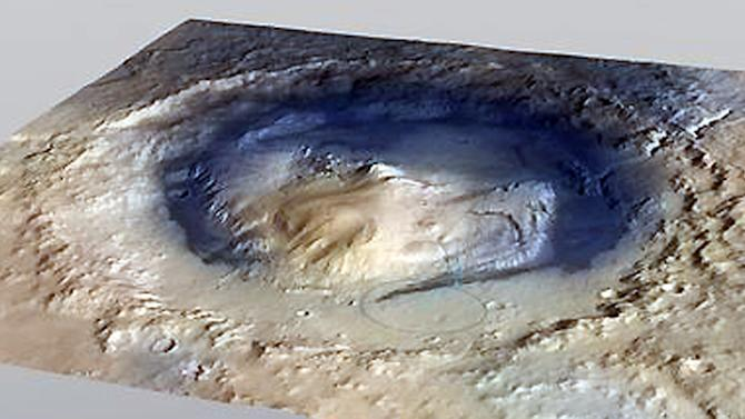 This undated image provided by NASA shows the Gale Crater on Mars. This image shows the landing site for the rover Curiosity, which is scheduled in August 2012 to touch down near the foot of Mount Sharp, a mountain inside the crater on the red planet. On Friday April 13, 2012, NASA said it is drawing up a new, cheaper plan to go to Mars in 2018 and beyond and asked scientists for mission ideas. (AP Photo/NASA)