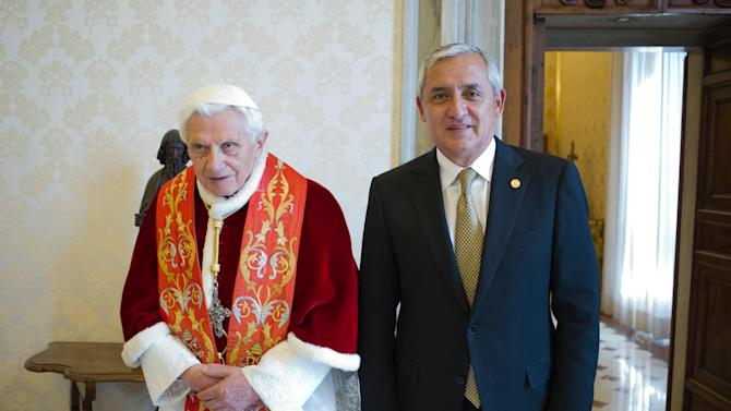 Pope Benedict XVI  receives Guatemala's President Otto Perez Molina during a private audience at Vatican, Saturday, Feb. 16, 2013. (AP Photo/(AP Photo/Osservatore Romano, ho)
