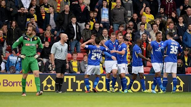 Chris Wood, centre right, celebrates his goal for Leicester at Watford