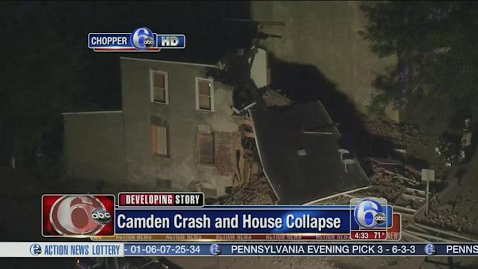 Car crash leads to house collapse in Camden
