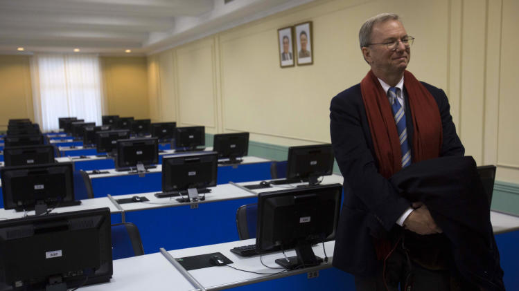 Executive Chairman of Google, Eric Schmidt tours a computer lab at Kim Il Sung University in Pyongyang, North Korea on Tuesday, Jan. 8, 2013. Schmidt is the highest-profile U.S. executive to visit North Korea - a country with notoriously restrictive online policies - since young leader Kim Jong Un took power a year ago. (AP Photo/David Guttenfelder)