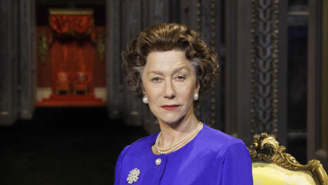 """FILE - This undated file image provided by Boneau/Bryan-Brown shows Helen Mirren as Queen Elizabeth II in a promotional photo for Peter Morgan's play """"The Audience."""" National Theatre Live, which broadcasts stage shows from England to movie screens worldwide, said Monday, June 17, 2013, that its June 13 live broadcast of Mirren as Queen Elizabeth II in the play """"The Audience"""" has captured its largest audience to date. (AP Photo/Boneau/Bryan-Brown, Johan Persson, File)"""