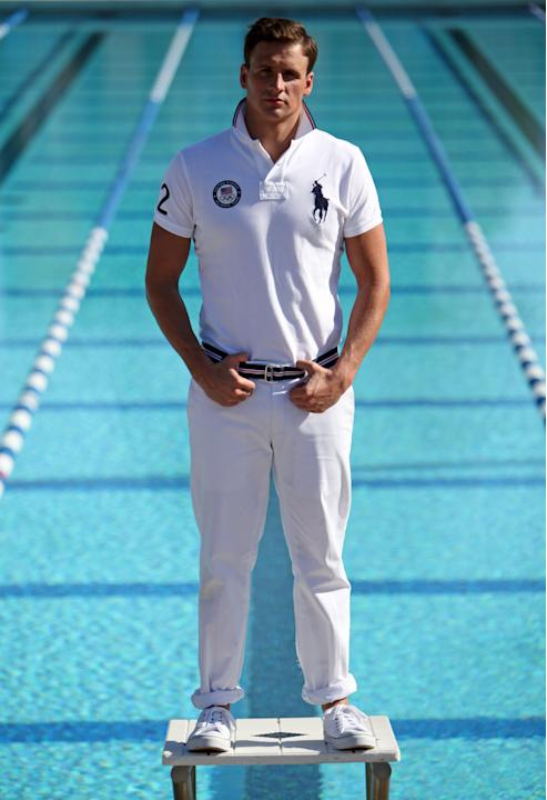 In this Nov. 14, 2011 photo, Olympic medalist swimmer Ryan Lochte models a Ralph Lauren Olympic uniform during a photo session at the University of California-Irvine. Decathlete Bryan Clay spends his