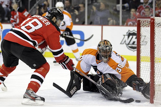 Philadelphia Flyers' Ilya Bryzgalov (30), of Russia, makes a save on a shot by New Jersey Devils' Steve Bernier (18) during the second period of Game 4 of a second-round NHL hockey Stanley Cup playoff