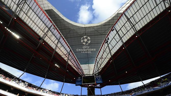 The UEFA Champions League logo is seen on the Luz stadium in Lisbon, on May 24, 2014