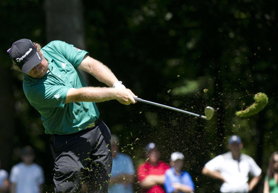 William McGirt take a divot on the third hole during final round play at the 2012 Canadian Open at the Hamilton Golf and County Club in Hamilton, Ontario, on Sunday, July 29, 2012. (AP Photo/The Canadian Press, Nathan Denette)