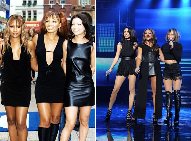 Big Reunion bands before and after: The original Honeyz lineup has changed slightly since the first picture of the band [left] The original members, Celena and Heavenli are now joined by Mariama . Cop