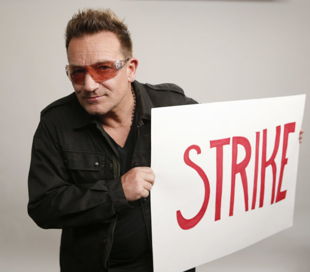 IMAGE DISTRIBUTED FOR WATER.ORG -Bono shows his support for Water.org's Matt Damon in his strike not to use the bathroom in protest of the 2.5 billion people who lack access to safe water and sanitati