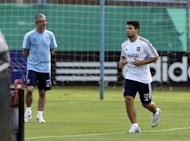 Sergio Aguero (right) at an Argentina training session in Ezeiza, Buenos Aires, on Saturday. Argentina climbed above Chile to the top of the World Cup qualifying group with a 3-1 home win against Paraguay last week thanks to goals from Angel Di Maria, Gonzalo Higuain and Lionel Messi