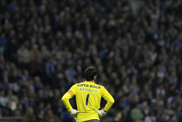 Sporting's goalkeeper Rui Patricio looks on in the last minutes of a Portuguese League soccer match against FC Porto at the Dragao stadium in Porto, Portugal, Sunday, Oct. 27, 2013. Porto won 3-1 and