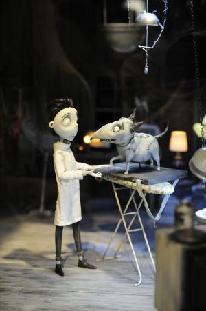 """FILE - In this July 12, 2012 file photo, figures on the set of the Tim Burton Disney movie """" Frankenweenie"""" are shown on display at Comic-Con preview night held at the San Diego Convention Center, in San Diego.  (Photo by Denis Poroy/Invision/AP, File)"""
