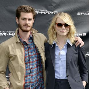 "Cast members of ""The Amazing Spider-Man 2"" Andrew Garfield and Emma Stone pose for a photo call in Culver City"