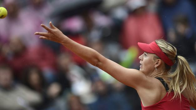 Russia's Maria Sharapova Serves AFP/Getty Images