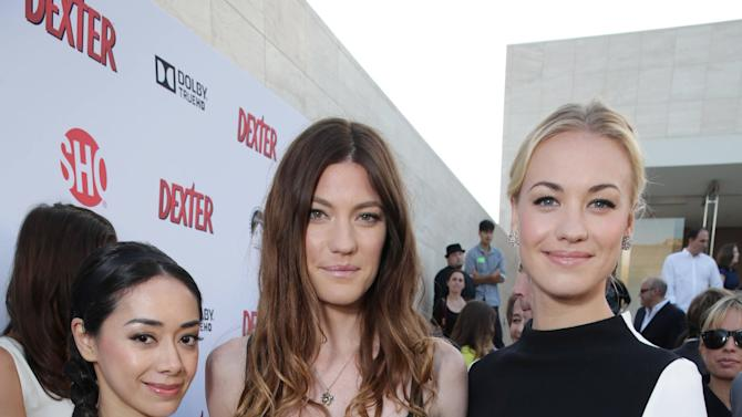Aimee Garcia, Jennifer Carpenter and Yvonne Strahovski at Showtime's Dexter Premiere, on Saturday, June, 15, 2013 in Los Angeles. (Photo by Eric Charbonneau/Invision for Showtime/AP Images)