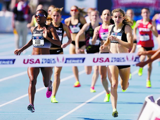 Mary Cain, at right, finished second in the U.S. 1,500 meters — Associated Press