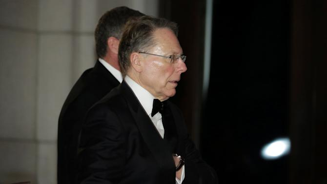 Wayne LaPierre, executive vice president of the National Rifle Association, arrives to attend a candlelight dinner with President-elect Donald Trump at Union Station in Washington