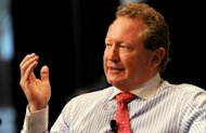 Mining billionaire Andrew Forrest, pictured during a business luncheon in Sydney, in April. Forrest on Tuesday won a High Court appeal against a ruling that he misled investors on Chinese deals that could have seen him banned as a company director