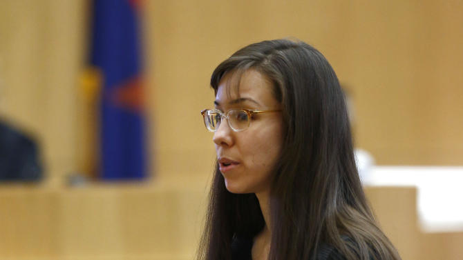 Jodi Arias addresses the jury on Tuesday, May 21, 2013, during the penalty phase of her murder trial at Maricopa County Superior Court in Phoenix.    Arias was convicted of first-degree murder in the stabbing and shooting to death of Travis Alexander. (AP Photo/The Arizona Republic, Rob Schumacher, Pool)