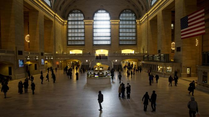 Commuters pass through Grand Central Station terminal in Midtown Manhattan in New York city