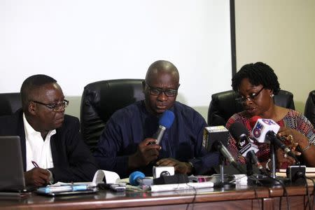 Abdulsalami Nasidi, director of the Nigeria Centre for Disease Control (NCDC), Lagos state health commissioner Jide Idris and Lagos Special Advisor on Health Yewande Adesina, speak about the update on the Ebola outbreak during a news conference in Lagos