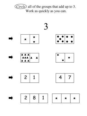 """This image provided by the University of Missouri shows an illustration part of a University of Missouri study that examined first-graders' """"number system knowledge."""" That's how well they understand such things as that numbers represent quantities. Youngsters who didn't have a good grasp of these concepts went on have lower scores on a key math skills test years later when they were in seventh grade. We know a lot about how babies learn to talk, and youngsters learn to read. Now scientists are unraveling the earliest building blocks of math _ and what children know about numbers as they begin first grade seems to play a big role in how well they do everyday calculations later on. (AP Photo/University of Missouri)"""