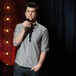 "File-This Jan. 14, 2014 photo released by NBC shows writer-comedian Colin Jost performing on ""Late Night with Jimmy Fallon,"" in New York. Jost, the NBC comedy show's head writer, made his first appearance on the spoof newscast, seated alongside co-anchor Cecily Strong. The baby-faced, anchor-handsome Jost began by voicing gratitude for his new on-air role. He called it ""a dream come true."" Among his news items was the 50th anniversary of Pop-Tarts, which he described as ""the official breakfast of kids whose parents are in way over their heads."" (AP Photo/NBC, Lloyd Bishop,File)"