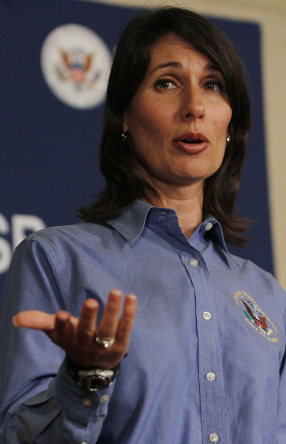 Deborah Hersman of the National Transportation Safety Board speaks at a news conference , Monday, July 8, 2013 in South San Francisco, Calif. An Asiana Airlines Boeing 777 crashed upon landing Saturday, July 6, at San Francisco International Airport, and two of the 307 passengers aboard were killed. (AP Photo/George Nikitin)