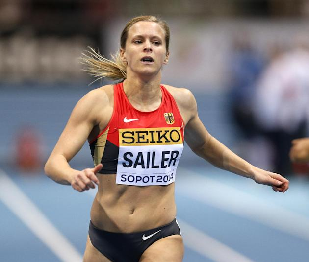 Germany's Verena Sailer runs in her 60m heat during the Athletics World Indoor Championships in Sopot, Poland, Saturday, March 8, 2014