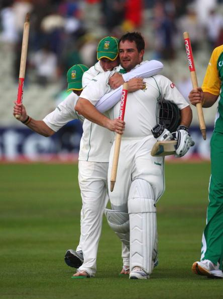 BIRMINGHAM, UNITED KINGDOM - AUGUST 02:  Mark Boucher of South Africa is congratulated by teammates after winning the Test match during day 3 of the 3rd Test Npower Test Match between England and Sout