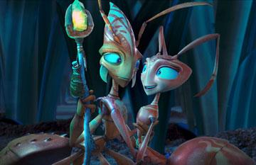 Zoc (voiced by Nicolas Cage ) and Hova (voiced by Julia Roberts ) in Warner Bros. Pictures' The Ant Bully
