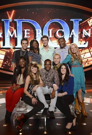 The &#39;American Idol&#39; Season 12 Top 10: Clockwise From Top Left: Lazaro Arbos, Amber Holcomb, Paul Jolley, Curtis Finch, Jr., Janelle Arthur, Kree Harrison, Devin Velez, Burnell Taylor, Angie Miller and Candice Glover -- FOX