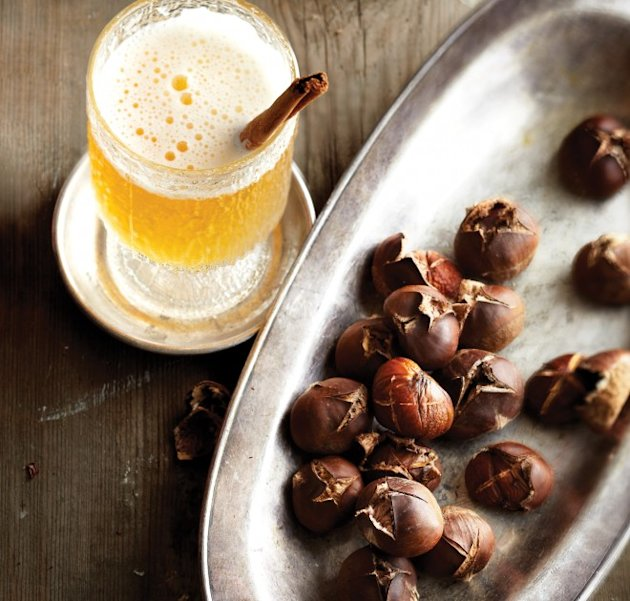 Cozy Christmas cocktail with festive roasted chestnuts
