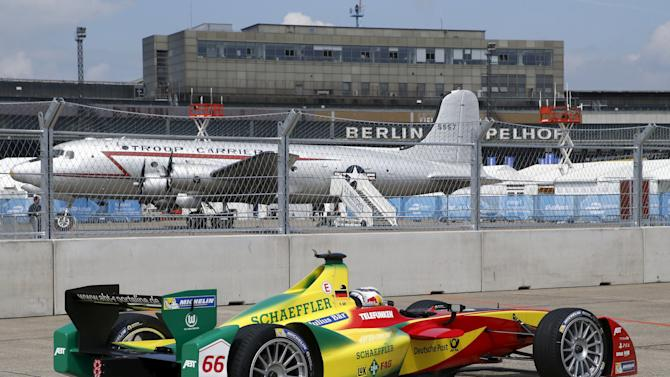 Audi Sport ABT Team Daniel Abt drives a Formula E car during a qualifying round for a Championship race at former Tempelhof airport in Berlin