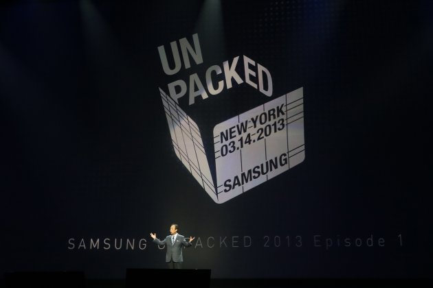 JK Shin, President and Head of IT and Mobile Communication Division, introduces Samsung Electronics Co's latest Galaxy S4 phone during its launch in New York
