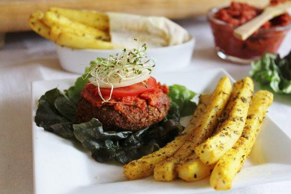 Raw Yam Burgers and Daikon Fries with Ketchup