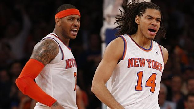 New York Knicks' Chris Copeland (R) celebrates a basket in the second half with his teammate Carmelo Anthony during the Knicks' 85-75 win over the Indiana Pacers' in Game 5 of their NBA Eastern Conference playoff basketball series (Reuters)