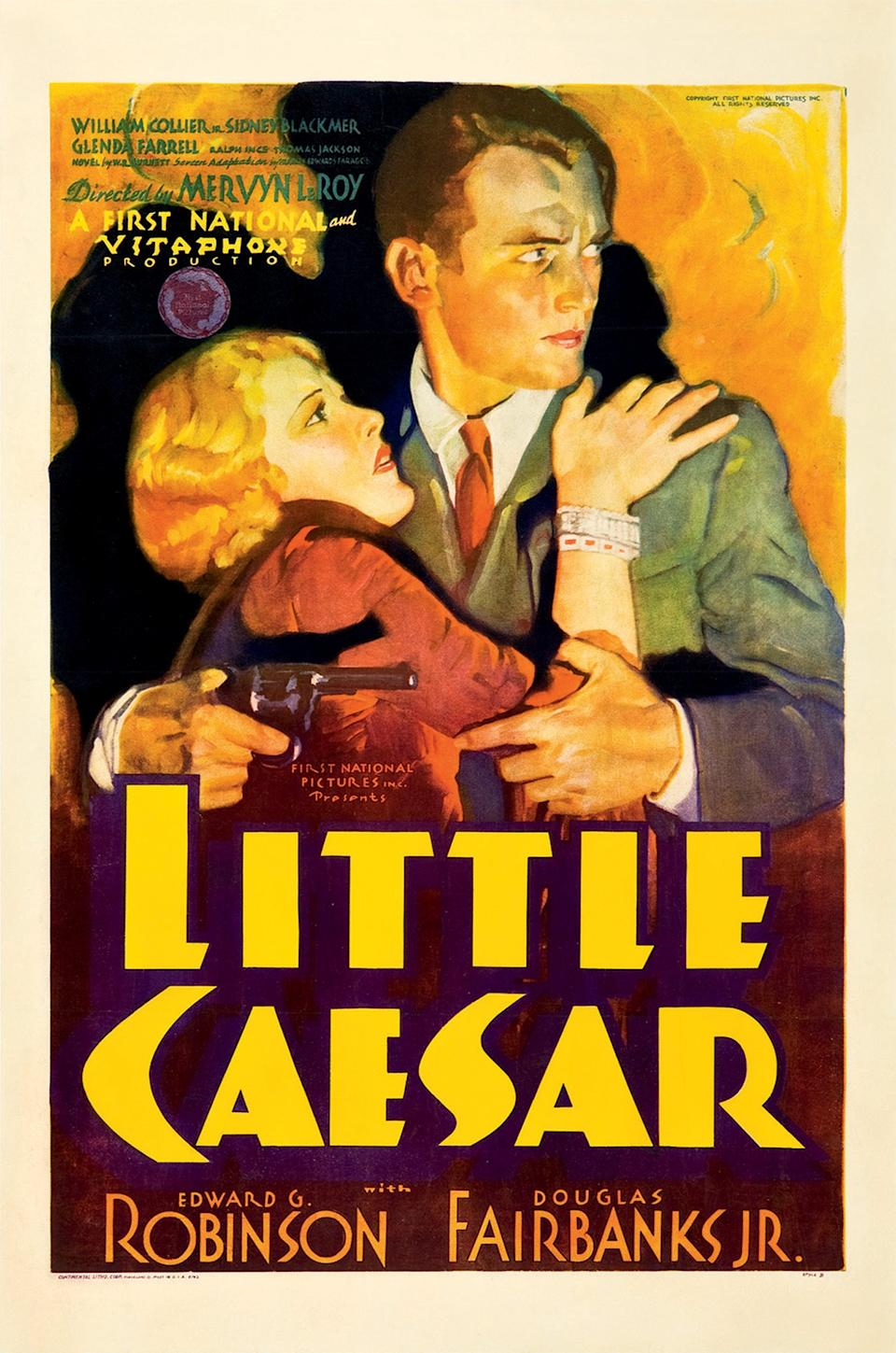 "This February 2012 photo provided by Heritage Auctions in Dallas shows a movie poster for the 1931 film ""Little Caesar"" featuring Douglas Fairbanks Jr. This and other rare classic movie theater posters found in a northeastern Pennsylvania attic are scheduled to go to auction March 23. (AP Photo/Heritage Auctions)"