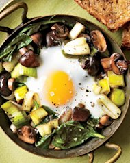 Eggs Baked Over Sautéed Mushrooms and Spinach. Photo © Johnny Valiant