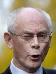 European Union President Herman Van Rompuy gives a statement in Helsinki, Finland. The Nobel Peace Prize has been awarded to the European Union, an institution wracked by the euro crisis but credited with bringing more than a half century of peace to a continent ripped apart by two world wars
