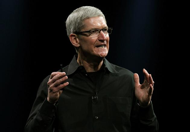 SAN FRANCISCO, CA - JUNE 11: Apple CEO Tim Cook delivers the keynote address during the Apple 2012 World Wide Developers Conference (WWDC) at Moscone West on June 11, 2012 in San Francisco, California. According to reports Apple is expected to unveil a slew of new hardware and software updates at the company's annual developer conference which runs through June 15. (Photo by Justin Sullivan/Getty Images)